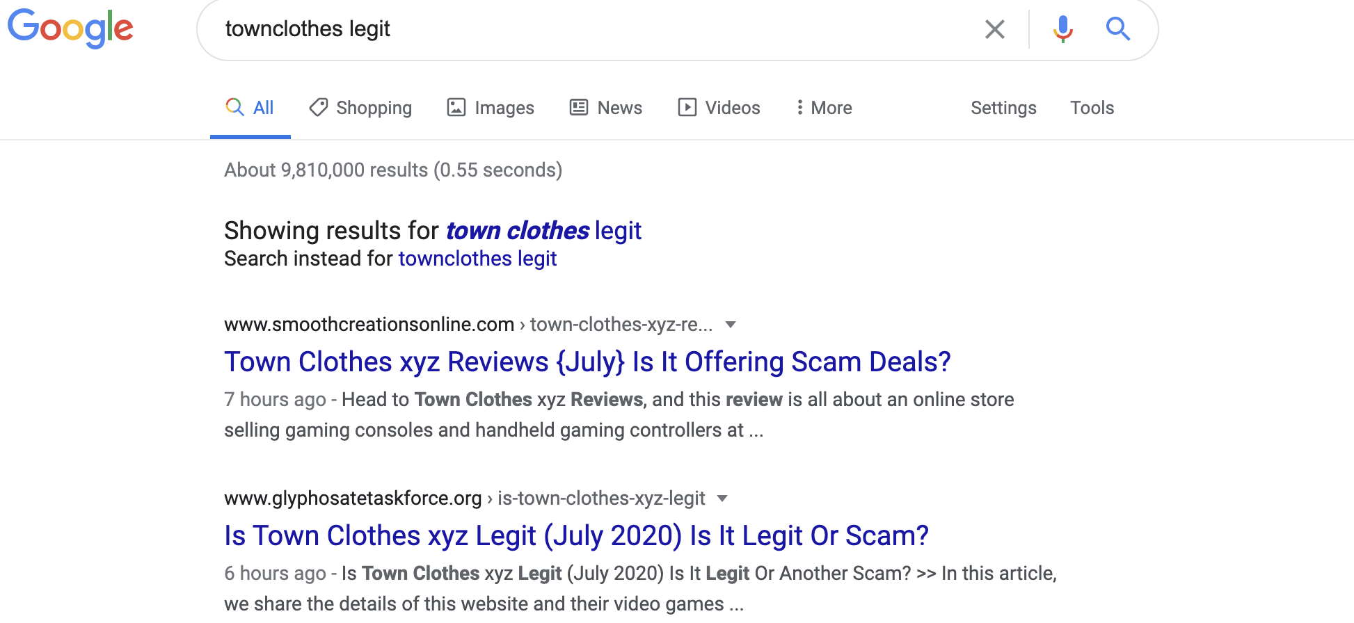 google search result on townclothes.xyz site