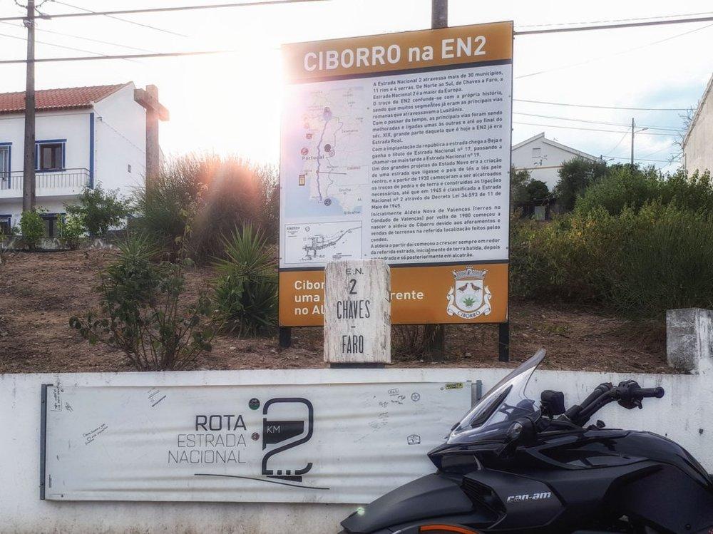Quilómetro 500 na aldeia de Ciborro