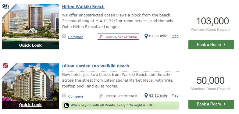 hilton honors point required at hilton wakiki beach