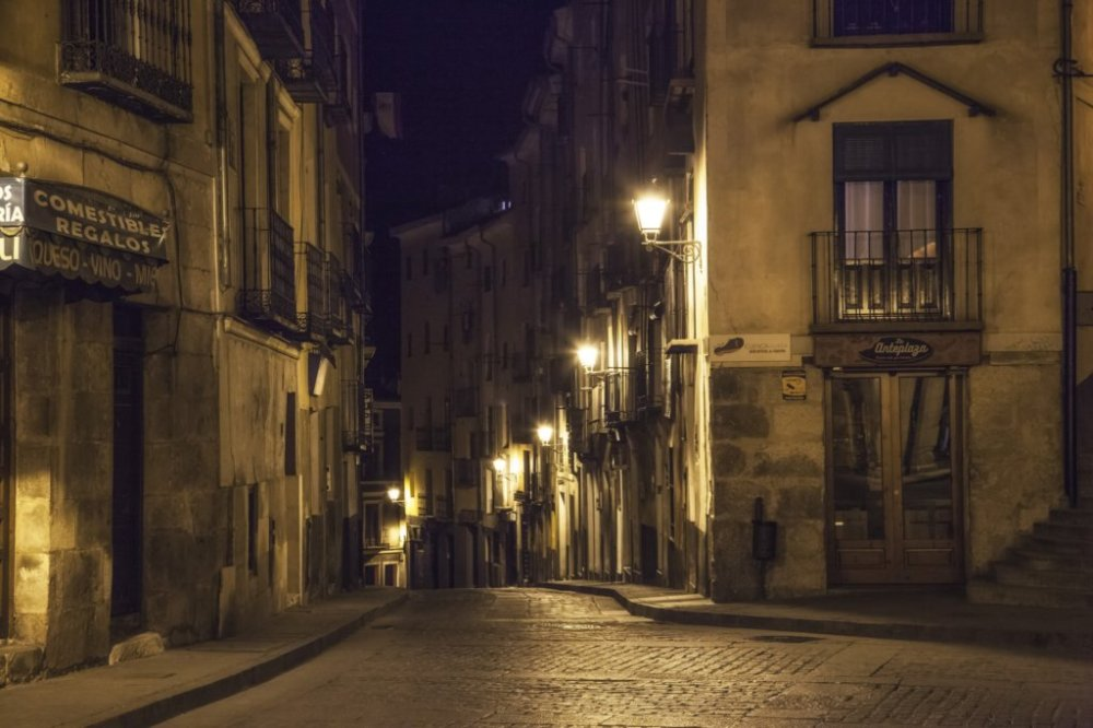 Street of the Old Town at night