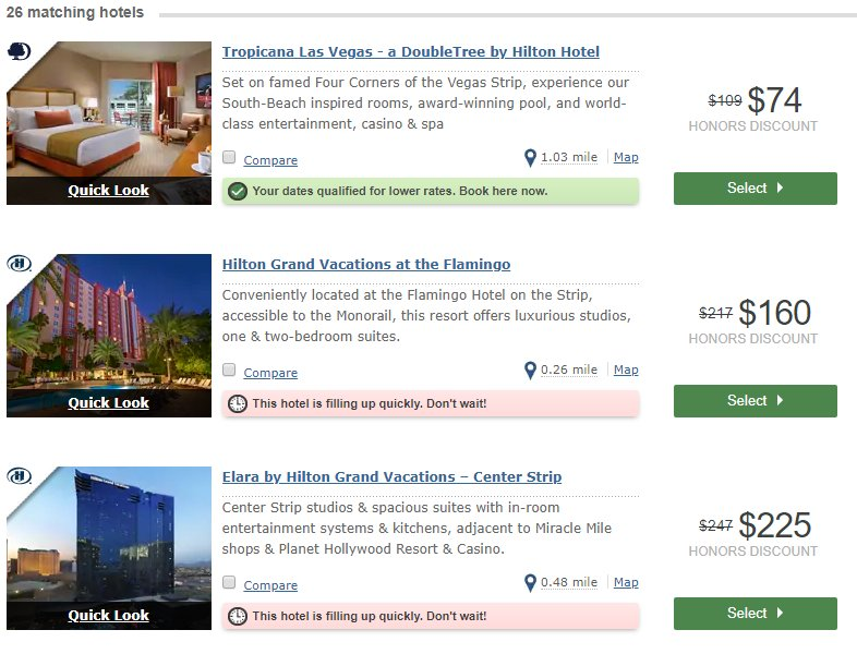 hilton cash price for las vegas